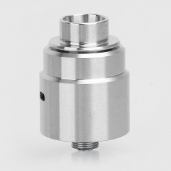 Entheon Style RDA Rebuildable Dripping Atomizer w/ BF Pin + Spare Drip Tips - Silver, Stainless Steel, 22mm Diameter