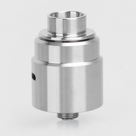 Entheon Style RDA Rebuildable Dripping Atomizer w/ BF Pin + Spare Drip Tips - Silver, 316 Stainless Steel, 22mm Diameter