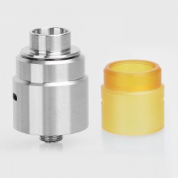 Entheon Style RDA Rebuildable Dripping Atomizer Kit w/ BF Pin + PEI Top Cap - Silver, Stainless Steel, 22mm Diameter