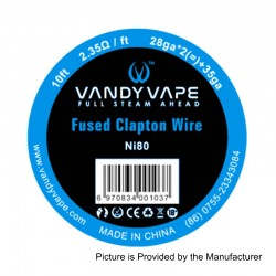 Authentic Vandy Vape Ni80 Fused Clapton Wire Heating Resistance Wire - 28GA x 2 + 35GA, 2.35 Ohm / Ft, 3m (10 Feet)