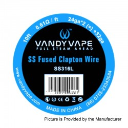 Authentic Vandy Vape SS316L Heating Resistance Wire - 24GA x 2 + 32GA, 0.61 Ohm / Ft, 3m (10 Feet)