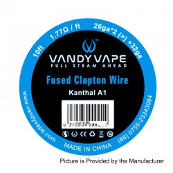 Authentic Vandy Vape Kanthal A1 Fused Clapton Wire Heating Resistance Wire - 26GA x 2 + 32GA, 1.77 Ohm / Ft, 3m (10 Feet)
