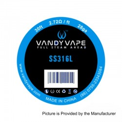 Authentic Vandy Vape SS316L Heating Resistance Wire - 28GA, 2.72 Ohm / Ft, 10m (30 Feet)