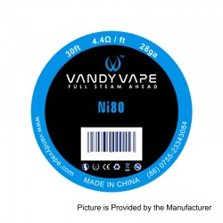 Authentic Vandy Vape Pure Nickel Ni80 Heating Resistance Wire - 28GA, 4.4 Ohm / Ft, 10m (30 Feet)