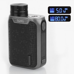 Authentic Vaporesso Swag 80W TC VW Variable Wattage Box Mod - Black, Aluminum Alloy, 5~80W, 1 x 18650