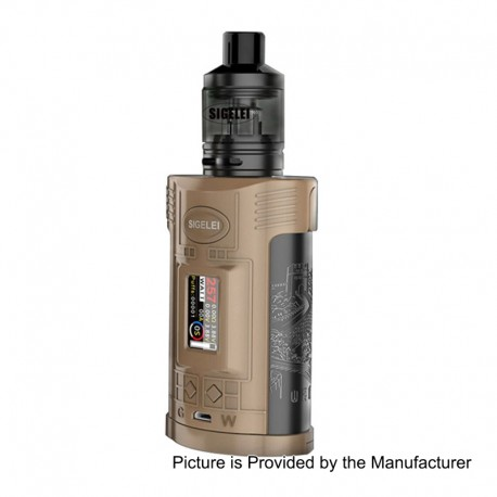 Authentic Sigelei GW 257W VW Variable Wattage Mod + F Tank Kit - Coffee + Gun Metal, Zinc Alloy + Stainless Steel, 2 x 18650