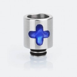 510 Cross Replacement Drip Tip for SMOKTech SMOK TFV8 Baby Tank - Blue, Epoxy Resin + Stainless Steel, 21mm
