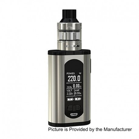 Authentic Eleaf Invoke 220W TC VW Variable Wattage Box Mod + ELLO T Tank Kit - Silver, 2 x 18650, 4ml, 25mm Diameter