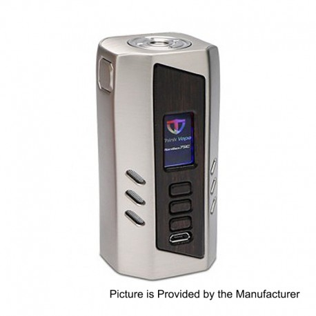 Authentic ThinkVape Ranger 75C TC VW Variable Wattage Box Mod - Silver, Zinc Alloy + Wood, 1~75W, 2 x 18650, Evolv DNA 75C Chip