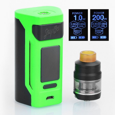 Authentic Wismec Reuleaux RX2 200W TC VW Variable Wattage Mod + GNOME Tank Kit - Green, 1~200W, 2 x 20700 / 18650, 2ml / 4ml