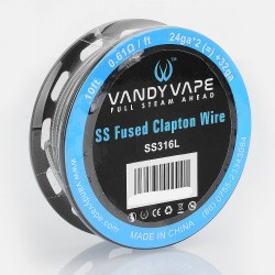 Authentic Vandy Vape SS316L SS Fused Clapton Wire Heating Resistance Wire - 24GA x 2 + 32GA, 0.61 Ohm / Ft, 3m (10 Feet)