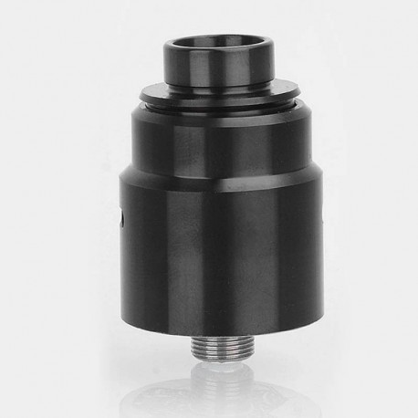 Entheon Style RDA Rebuildable Dripping Atomizer w/ BF Pin + Spare Drip Tips - Black, Stainless Steel, 22mm Diameter