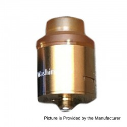 Authentic 5GVape Washington RDA Rebuildable Dripping Atomizer w/ BF Pin - Gold, 316 Stainless Steel, 24mm Diameter