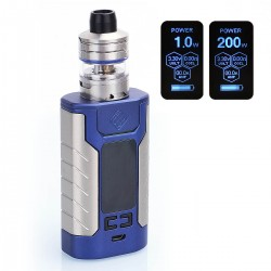 Authentic Wismec Sinuous FJ200 200W 4600mAh TC VW Variable Wattage Mod + Divider Tank Kit - Blue, 1~200W, 4ml, 25mm Diameter