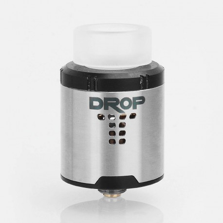 Authentic Digiflavor DROP RDA Rebuildable Dripping Atomizer w/ BF Pin - Silver, Stainless Steel, 24mm Diameter