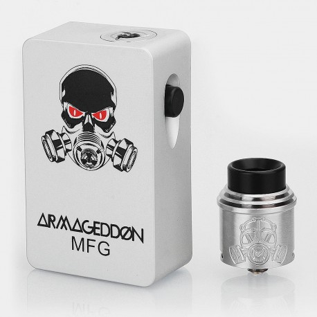 Armageddon Style Squonk Mechanical Box Mod + Apocalypse Style RDA Kit - Silver, 6ml, 1 x 18650, 24mm Diameter