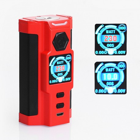 Authentic Sigelei Snowwolf Vfeng-S 230W VW Variable Wattage Box Mod - Red, Zinc Alloy, 10~230W, 2 x 18650