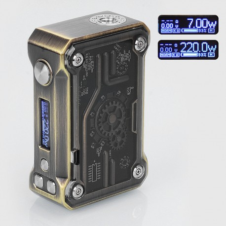 Authentic Tesla Punk 220W TC VW Variable Wattage Box Mod - Bronze, Zinc Alloy + ABS + PC, 7~200W, 2 x 18650