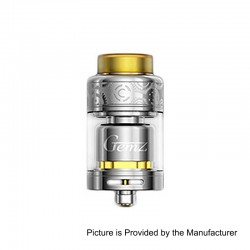 Authentic Gemz Prime Mover RTA Rebuildable Tank Atomizer - Silver, Stainless Steel, 3ml, 24mm Diameter