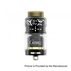 Authentic Gemz Prime Mover RTA Rebuildable Tank Atomizer - Black, Stainless Steel, 3ml, 24mm Diameter
