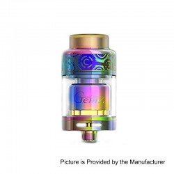 Authentic Gemz Prime Mover RTA Rebuildable Tank Atomizer - Rainbow, Stainless Steel, 3ml, 24mm Diameter