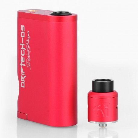 Driptech-DS Goon Box Style Mechanical Squonk Box Mod + Goon 1.5 Style RDA Kit - Red, 8ml, 2 x 18650, 24mm Diameter