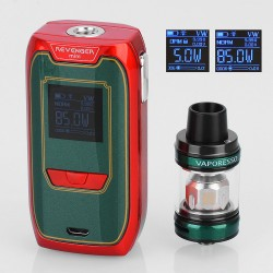 Authentic Vaporesso Revenger Mini 85W 2500mAh TC VW Mod + NRG SE Kit Christmas Edition - Red + Green, 5~85W, 3.5ml, 22mm Dia.