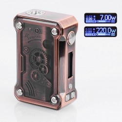 Authentic Tesla Punk 220W TC VW Variable Wattage Box Mod - Copper, Zinc Alloy + ABS + PC, 7~200W, 2 x 18650