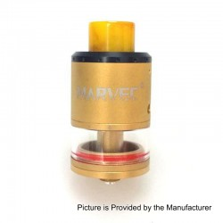 Authentic Marvec RDTA Rebuildable Dripping Tank Atomizer - Gold, Stainless Steel, 3.5ml, 24mm Diameter