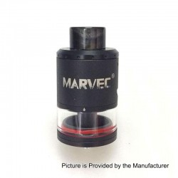 Authentic Marvec RDTA Rebuildable Dripping Tank Atomizer - Black, Stainless Steel, 3.5ml, 24mm Diameter