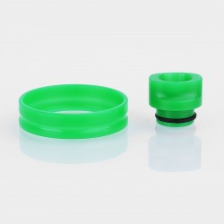 510 Replacement Drip Tip + Adapter Ring Kit for RDA / RTA / Sub Ohm Tank - Green, POM, 24mm Outer Diameter