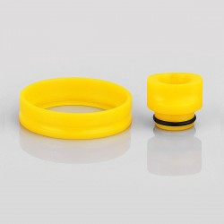 510 Replacement Drip Tip + Adapter Ring Kit for RDA / RTA / Sub Ohm Tank - Yellow, POM, 24mm Outer Diameter
