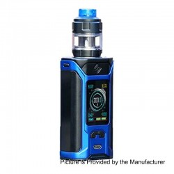 Authentic Wismec SINUOUS RAVAGE230 200W TC VW Mod + GNOME Evo Tank Kit - Black + Blue, 1~200W, 2 x 18650, 25mm Diameter