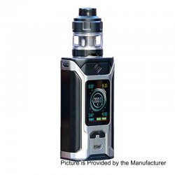 Authentic Wismec SINUOUS RAVAGE230 200W TC VW Mod + GNOME Evo Tank Kit - Black + Silver, 1~200W, 2 x 18650, 25mm Diameter