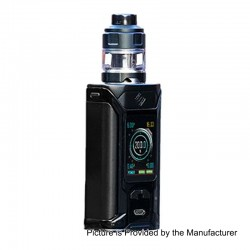 Authentic Wismec SINUOUS RAVAGE230 200W TC VW Mod + GNOME Evo Tank Kit - Black, 1~200W, 2 x 18650, 25mm Diameter