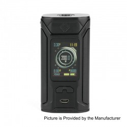 Authentic Wismec SINUOUS RAVAGE230 200W TC VW Variable Wattage Box Mod - Black, 1~200W, 2 x 18650