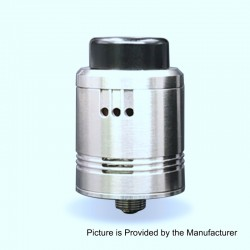 Cartel Obelisk Style RDA Rebuildable Dripping Atomizer w/ BF Pin - Silver, Stainless Steel, 24mm Diameter