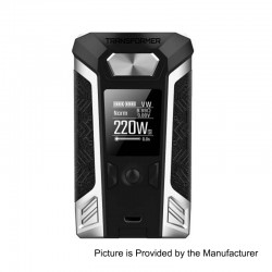 Authentic Vaporesso Transformer 220W TC VW Variable Wattage Box Mod - Silver, Zinc Alloy, 2 x 18650