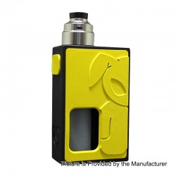 S-Rabbit Style Squonk Mechanical Box Mod + Solo Style RDA Kit - Yellow + Silver, 8ml, 1 x 18650, 22mm Diameter