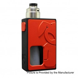 S-Rabbit Style Squonk Mechanical Box Mod + Solo Style RDA Kit - Red + Silver, 8ml, 1 x 18650, 22mm Diameter