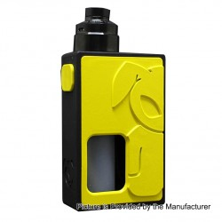 S-Rabbit Style Squonk Mechanical Box Mod + Solo Style RDA Kit - Yellow + Black, 8ml, 1 x 18650, 22mm Diameter