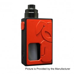 S-Rabbit Style Squonk Mechanical Box Mod + Solo Style RDA Kit - Red + Black, 8ml, 1 x 18650, 22mm Diameter