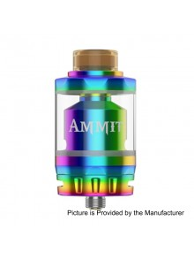 Authentic GeekVape Ammit Dual Coil Version RTA Rebuildable Atomizer - Rainbow, Stainless Steel + Glass, 3ml / 6ml, 27mm Diameter