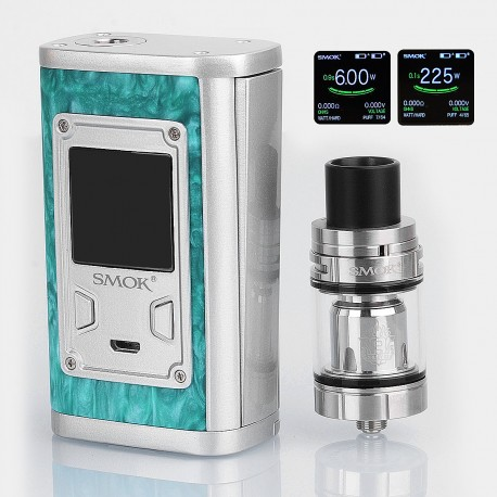 Authentic SMOKTech SMOK Majesty 225W TC VW Box Mod + TFV8 X-Baby Tank Standard Kit - Green Resin, 6~225W, 4ml, 2 x 18650