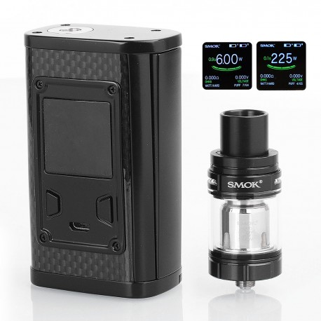 Authentic SMOKTech SMOK Majesty 225W TC VW Mod + TFV8 X-Baby Tank Standard Kit - Black Carbon Fiber, 6~225W, 4ml, 2 x 18650