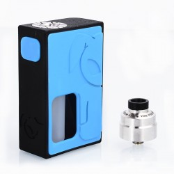 S-Rabbit Style Squonk Mechanical Box Mod + Solo Style RDA Kit - Blue + Silver, 8ml, 1 x 18650, 22mm Diameter