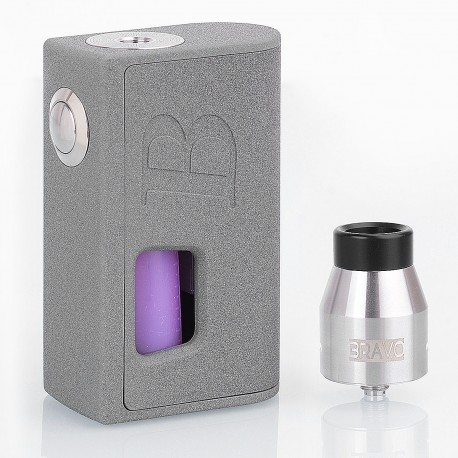Authentic Bravo Box Squonk Mechanical Box Mod + BF RDA Kit - Grey, 7ml, 1 x 18650 / 20700 / 21700, 24.7mm Diameter