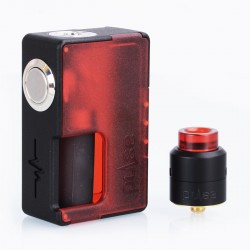 Authentic Vandy Vape Pulse BF Squonk Box Mod + Pulse 24 BF RDA Kit - Frosted Red, 8ml, 1 x 18650 / 20700, 24mm Diameter