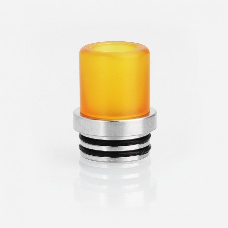 810 to 510 Drip Tip Adapter + 510 Replacement Drip Tip Kit - Silver + Yellow, Stainless Steel + PEI