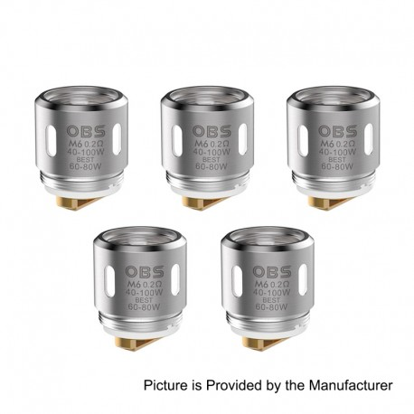 Authentic OBS Replacement M6 Coil Head for Damo Sub Ohm Tank Atomizer - 0.2 Ohm (40~80W) (5 PCS)